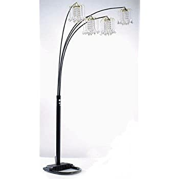 Arc Floor Lamp With 4 Crystal Like Shades In Black Finish