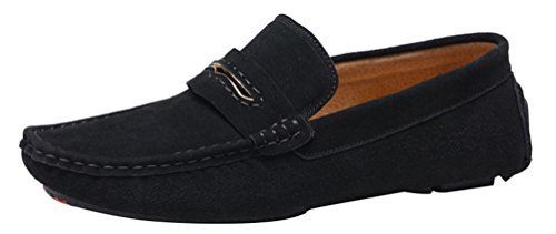 Salabobo QYY-0057 New Mens Stylish Casual Loafers Moccasins Leather Slip-on Driving Shoes Black ygE8ij0