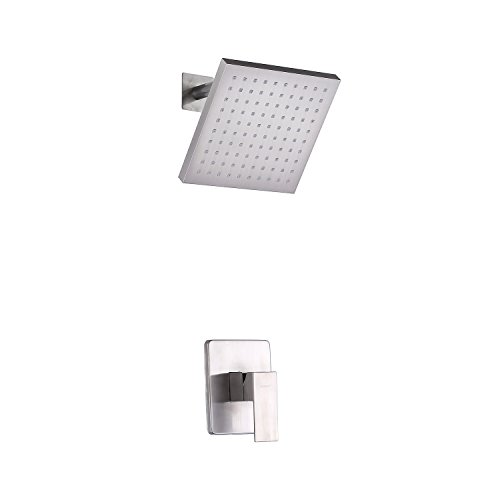 Rough Valve Included Handle (Sumerain Shower Valve and Trim Kit Brushed Nickel,Single Handle Shower Faucets Included Solid Brass Rough-in Valve and Square Stainless Steel Metal Showerhead)