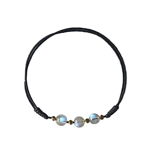 Moonstone red String Foot Chain Anklet Ankle Bracelet Jewelry Women Girls Hand Woven Rope About Retro Department Student Girlfriends Black Rope