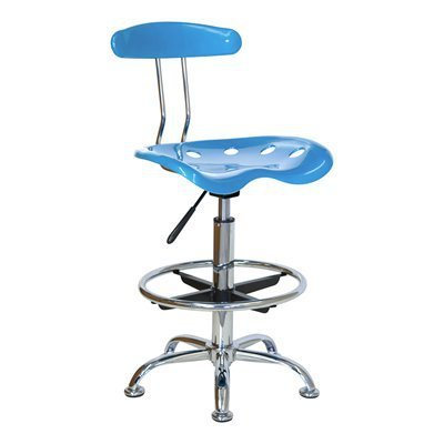 Vibrant Bright Blue and Chrome Drafting Stool with Tractor Seat LF-215-BRIGHTBLUE-GG