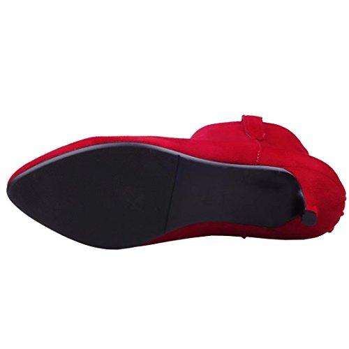 AIYOUMEI Damen Spitz Ankle Boots Kleiner Absatz Stiefeletten mit 5cm Absatz Schuhe Reißverschluss Klassischer Stiefel Rot