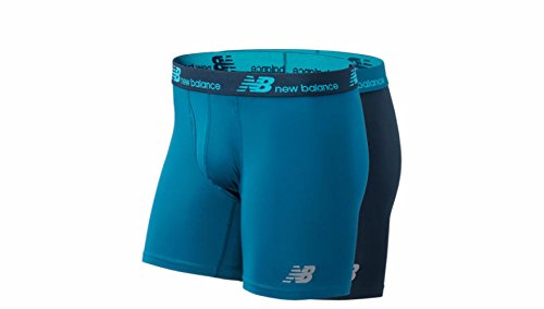 New Balance Mens Dry Fresh Boxer Brief 2-Pack, Castaway/Galaxy, X-Large ()