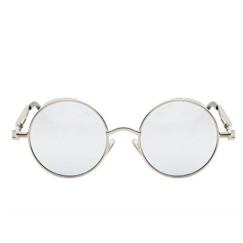 glasses Circle Retro Espejo Sunglasses para Plateado Goggles Metal Vintage Eyewear Huicai Hombres Mujeres Sun Blanco Yg8czq