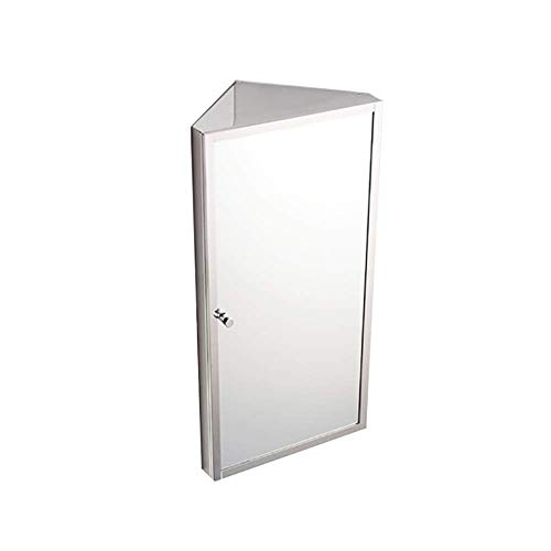 HDGZ Stainless Steel Corner Bathroom Mirror Cabinet Triangle Locker Wall Cabinet Multipurpose - Lights Bathroom Corner Mirrors Shaver With Socket Cabinet And