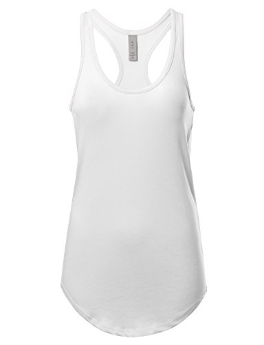 Women's Basic Solid Jersey Racer Back Tank Top With Scallop Bottom M White (Racerback Jersey Top)