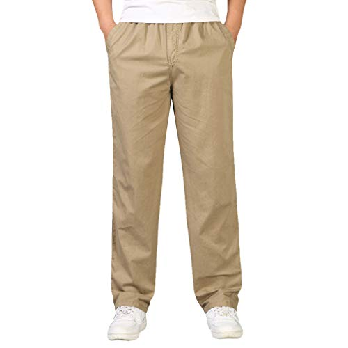 (Mens Trousers Multi-Pocket Combat Zipper Cargo Waist Work Casual Pants Jogger Pants in Basic Solid Colors Coffee)