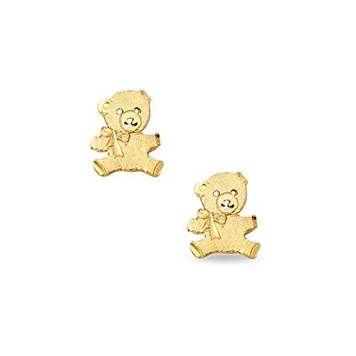 14k Ring Bear Teddy (Teddy Bear Stud Earrings Solid 14k Yellow Gold Diamond Cut Posts Polished Finish Genuine 10 x 8 mm)
