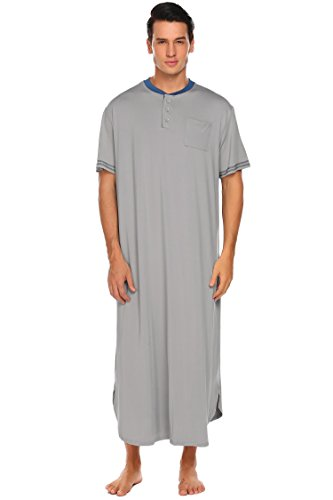 32dcbb96bc Adidome Men s Cotton Nightshirt Short Sleeve Sleep Shirt Loose Nightgown  Sleepwear Dress