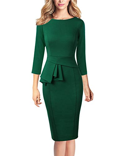 VFSHOW Womens Elegant Peplum Work Business Cocktail Bodycon Sheath Dress 1196 GRN XL Emerald Green