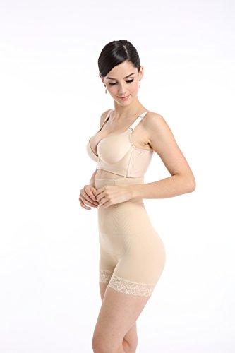 Hi-Waist Shapewear Tummy Control Body Shaper Seamless Thigh Slimming Boyshort Lace Edge for Women Apricot