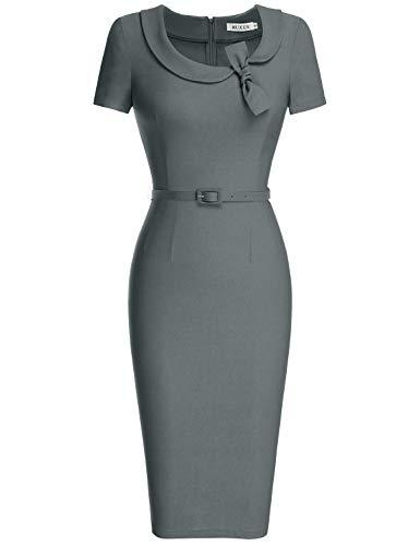 - MUXXN Women's Asymmetric Neckline Bowknot Junior Party Dress (XL Gray)