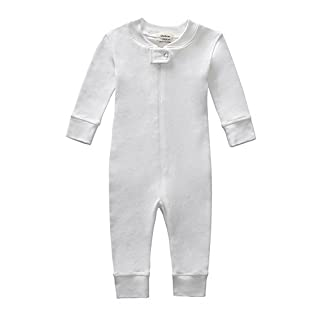 Owlivia Organic Cotton Baby Boy Girl Zip Front Sleep N Play Pajama Sleeper, Footless, Long Sleeve (Size 0-18 Month) (3-6 Months, Off-White)