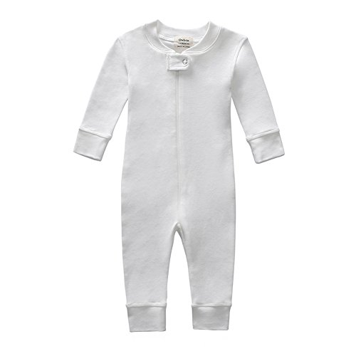 Owlivia Organic Cotton Baby Boy Girl Zip Front Sleep N Play Pajama Sleeper, Footless, Long Sleeve (6-12 Months, Off-White)