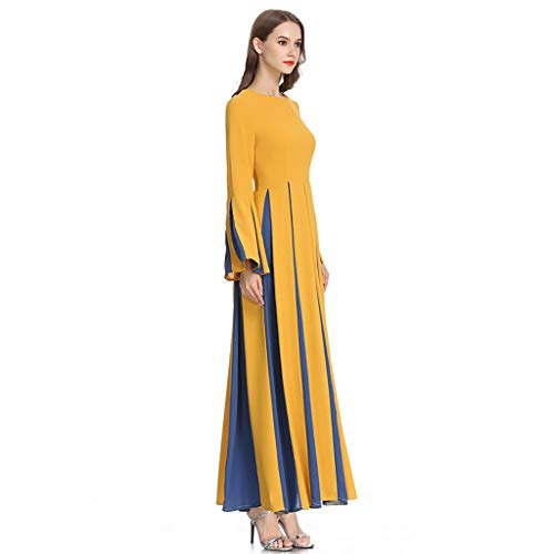 Sayhi Muslim Women's Stitching Slim A-line Pleated Dress Temperament Lady Dress Gowns Robe for Party Occasion(Yellow,M) by Sayhi (Image #2)