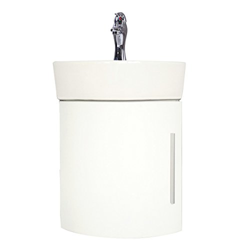 White Wall Mount Corner Cabinet Sink Faucet And Drain Combo Set Included Space Saving Design Renovator's Supply