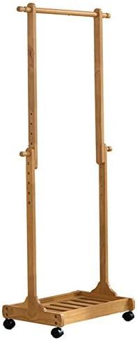 LIANGLIANG ハンガラック 木製可動棚のための高さ調節可能長さ64cm /幅38.5cm /高さ132cm~150cm 2色オプション (色 : 木の色)