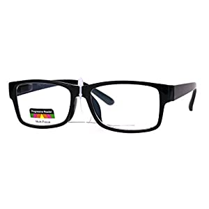 Classic Rectangular Plastic Multi 3 Focus Progressive Reading Glasses Black 2.5
