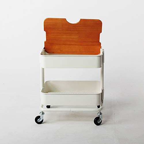 Two-Tier Rack Metal Cart with Wheels,Kitchen Multi-Function Fruit and Vegetable Trolley, Storage Cart Ersatile Storage Cupboard with Casters Utility Small Rolling Cart by Kitchen Cart (Image #3)