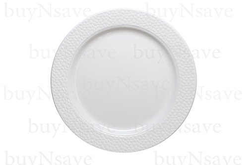"""Elegant Wedding Party Disposable Plastic Plates Hammered White with White,for 20 Guests,Dinner Plates10.25"""",Salad Plates7"""",Napkins,Tumblers,Forks,Spoons,Knives,with 1 Vanilla Scent Diamond Candle"""