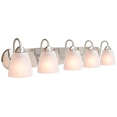 """Revel Armada 48"""" 6-Light Modern Vanity/Bathroom Light with Brushed Nickel finish and Frosted Glass Shades"""