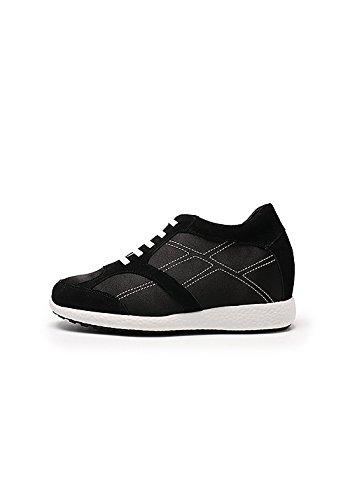 Zerimar Schuhe für Frauen Erhöhen auf Unsichtbare Weise Ihre Körpergrösse, Höhe Steigerung, Versteckter anhebender Ferse, Erhöht Ihre Höhe bis zu + 7 cm 100% Leder Schwarz