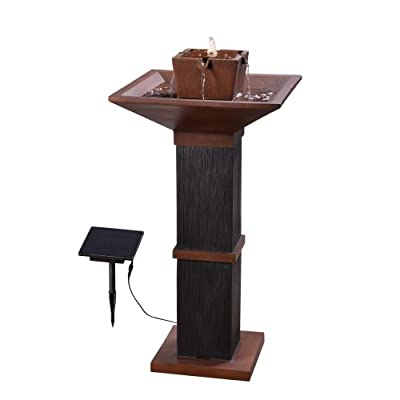 Kenroy Home 51052COPBRZ Kyoto Outdoor Solar Fountain with Light, 40 Inch Height Copper and Wood Finish - SOLAR POWERED: solar panel powers pump and light for easy placement anywhere outdoors DIMENSIONS: 40 inch Height, 20 inch width, 20 inch Ext. LED LIGHTS: Outfitted with an energy efficient and long-lasting LED light perfect for creating shimmering water effects - patio, fountains, outdoor-decor - 31fvPhYztpL. SS400  -