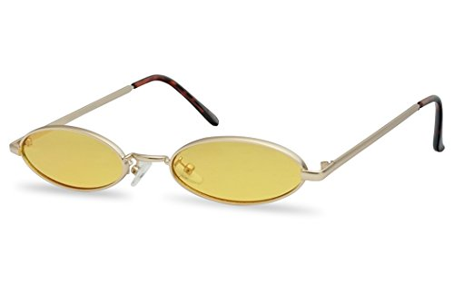 Ultra Small Oval Vintage Sun Glasses Slim Retro Steampunk Slender Candy Color Tinted Shades (Gold Frame | Yellow) ()