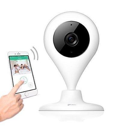 miSafes 360 Grad Wireless Innen kamera Mini IP Cam Baby Haustiere Video Monitor WiFi Überwachungskamera für iPhone iOS Android (HD 720p) Weiß