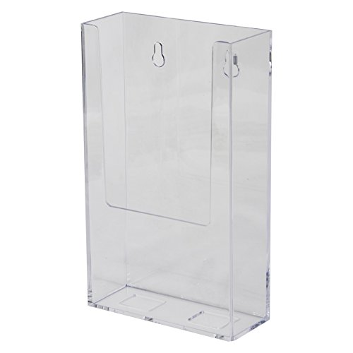 Acrylic Brochure Rack - Clear-Ad - Acrylic Wall Mount Trifold Brochure Holder 4x9 - Plastic Hanging Rack Card Holders - Wall Mounted Literature, Pamphlet, Envelopes, Bills, Mail, Letters, Menu Display - LHW-M141 (Pack of 6)