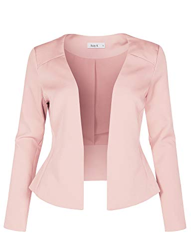 Womens Long Sleeve Fully Lined Collarless Tuxedo Blazer Jacket,Pink,Medium