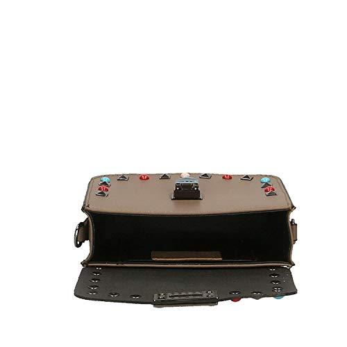 18x15x7 Light Dimensione Made Piccola Tracolla Italy Con Donna Da Vera Pochette Pelle In Mud Cm colore Mud vOHqTZ