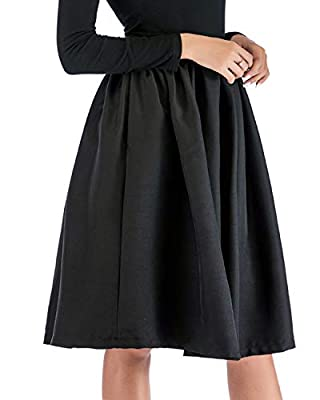 Amormio Women's Modest A-Line High Waisted Stretch-Back Knee Length Flare Pockets Midi Skater Skirt