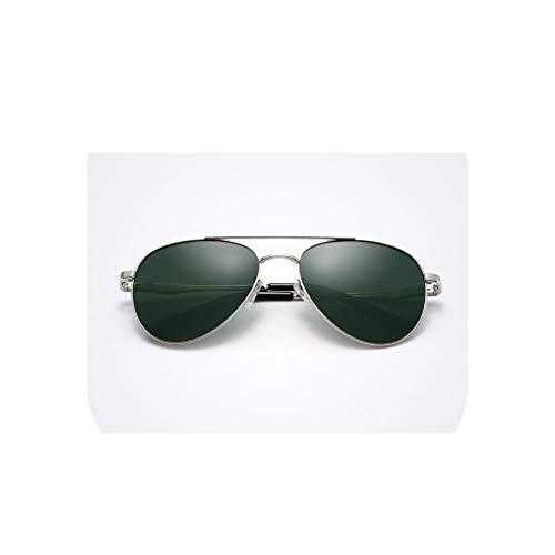 Men's Aviator Sunglasses Frog Mirror Anti-UV Driving Glasses,Silver Frame ()