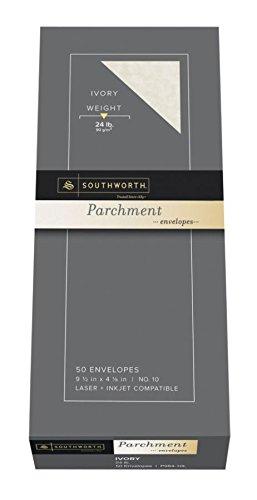 (Southworth Company, Agawam, MA P98410L Parchment Envelope, No 10, 24 lb, 50/BX, Ivory)