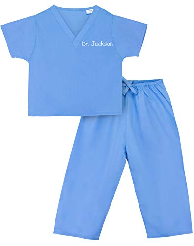 Scoots - Personalized Kids Scrubs, Customized with Your Child's Name, Size 3T, Blue