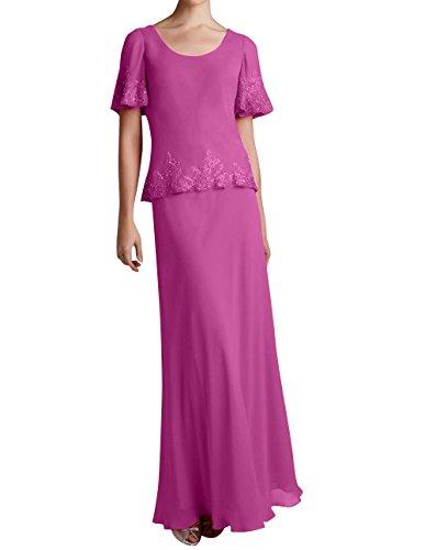 Damen Spitze Bodenlang Braut Pink La Brautmutterkleider Applikation Marie Chiffon Abendkleider Promkleider mit 46Rwzq