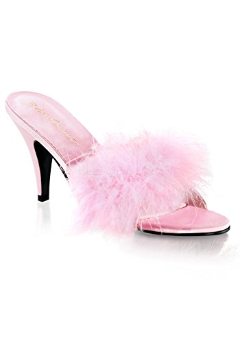 Pleaser Women's Amour-03 Sandal,Baby Pink Satin,8 M US