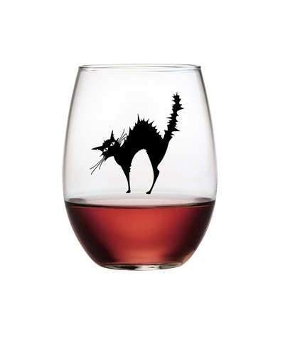 Halloween Clear Stemless Wine Glasses Decorated with Black Cat wrapped around entire bowl of glass;Set of 4 Scary Cat Glassware Theme for parties/entertaining party guests.Dishwasher safe,hand decorated with scary black cat. Perfect for cat lovers. -