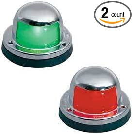 1 Mile Stainless Steel Pair of Red and Green Bow Navigation Lights for Boats
