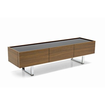 Horizon Low Sideboard Doors: Veneered Canaletto Walnut, Frame: Veneered Canaletto Walnut, Base/Handles: Frosted Black Glass (Calligaris Dining Room Cabinet)