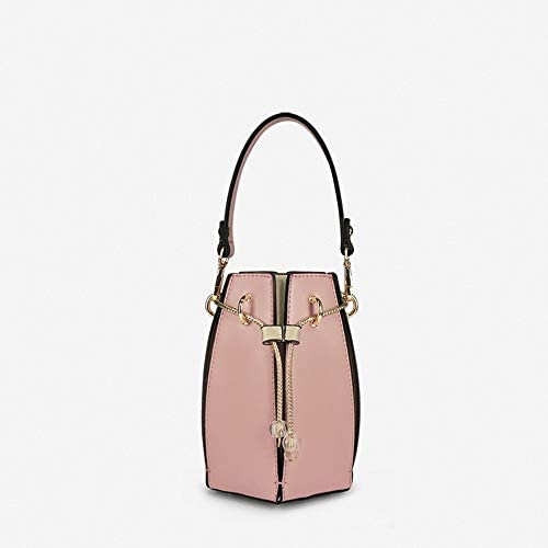 -PUバドシェイプハンドバッグショルダーバッグハンドバッグバケットバッグ、巾着型、12センチメートル*の13センチメートル* 19センチメートル、13センチメートルハイ手首 よくできた (Color : Pink)