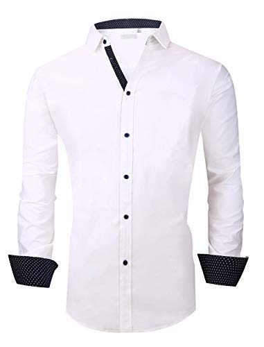 (Esabel.C Mens Big and Tall Dress Shirts Long Sleeve Regular Fit Casual Button Down Shirt White 5XL)