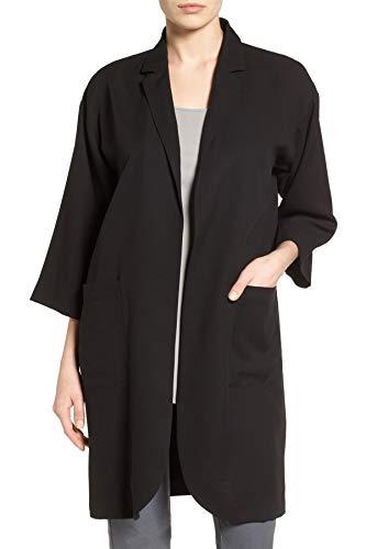 Eileen Fisher Women's Notch Collar Long Jacket, Black, Medium - Eileen Fisher Long Wool Jacket