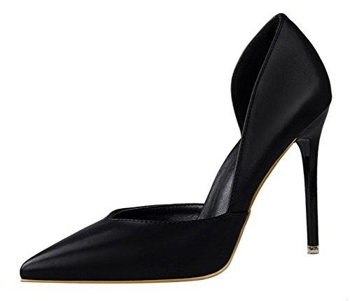 Passionow Women's Classic Versatile D'Orsay Pointed Toe Slip-on Stiletto Heel PU Dress Pumps (5 B(M) (Mystique Studded Sandals)