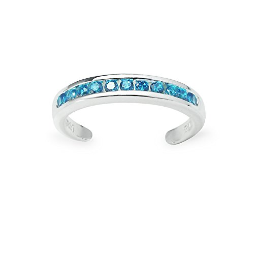 Sterling Silver Channel Light Blue Cubic Zirconia CZ Sparkling Adjustable Toe Ring by River Island Jewelry