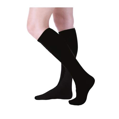(3-Pack Women's Buster Brown Elastic-Free Cotton Knee High Socks Black Sock Size 10 - Fits Shoe Size 7.5-9)