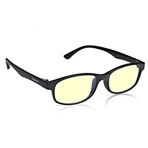 Duduma RT2014 Computer Glasses Readers Reading Video Gaming Glasses of Anti Blue Light Eye Strain and UV Light Coating with Superlight & Flexible Frame (Black matte frame with yellow lens)