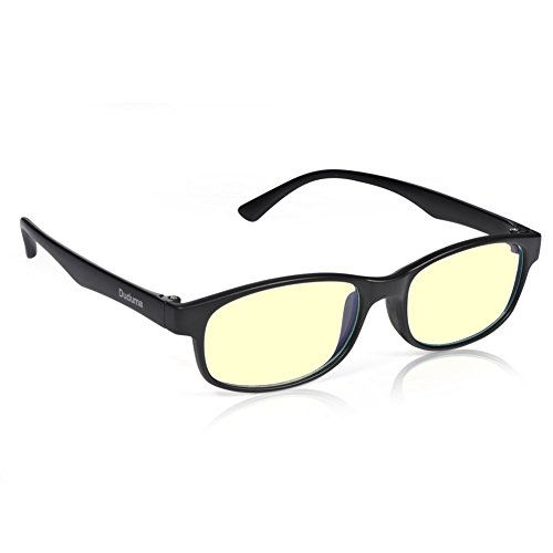 Duduma RT2014 Computer Glasses Readers Reading Video Gaming Glasses of Anti Blue Light Eye Strain and UV Light Coating with Superlight & Flexible Frame (Black matte frame with yellow - Sunglasses Fit Face How Your