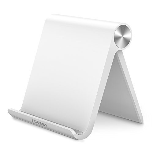 UGREEN Tablet Stand Holder for iPad, Samsung Galaxy Tab, Nintendo Switch, Apple iPad Pro 10.5, iPad Mini, iPad Air, iPhone 7 6 Plus X 6S 8 5S, LG Android Tablets and E-readers, Adjustable (White)